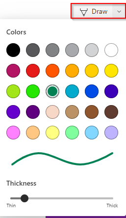 selecting colors and thickness for freehand scribbling in web capture