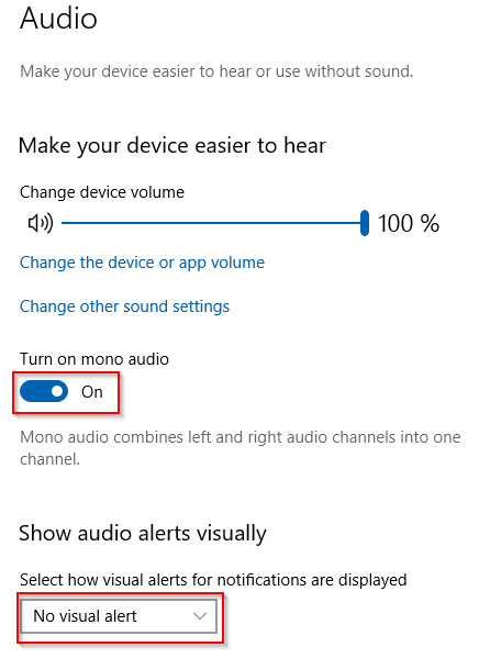 enable mono audio for sound settings in windows 10