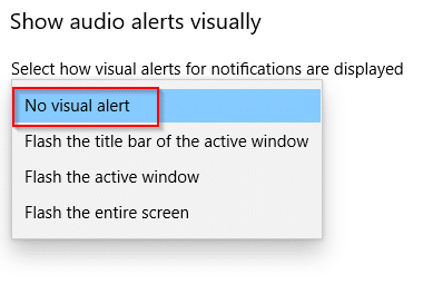 show audio alerts visually in windows 10