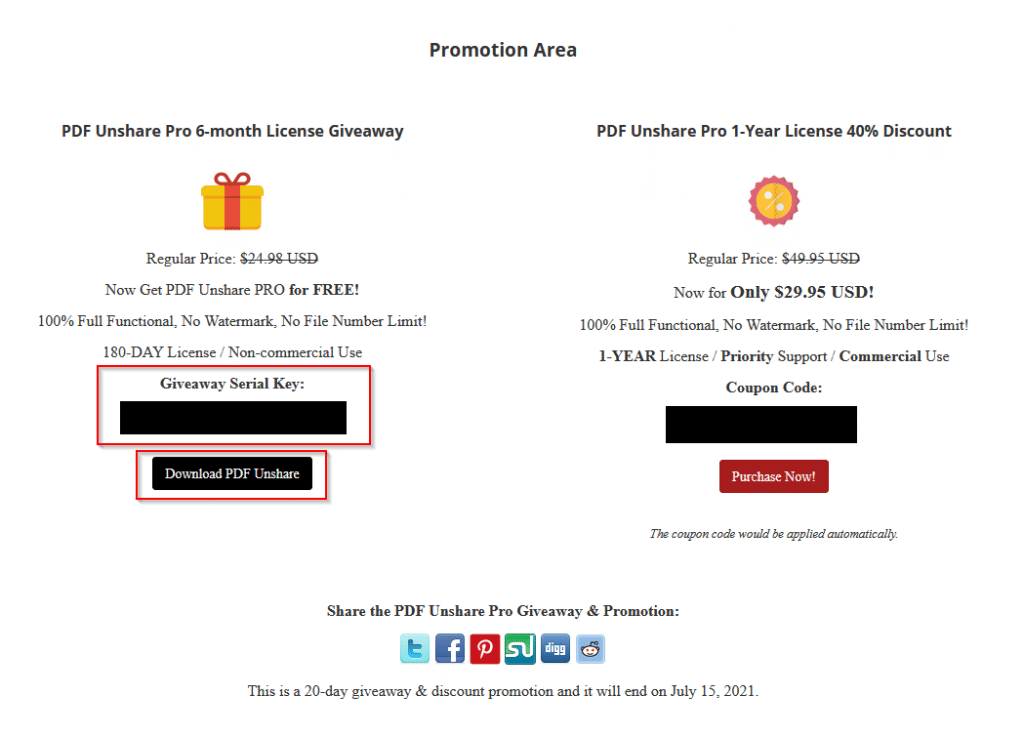 promotion area unlocked for PDF Unshare Pro giveaway