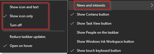 changing News and interests settings