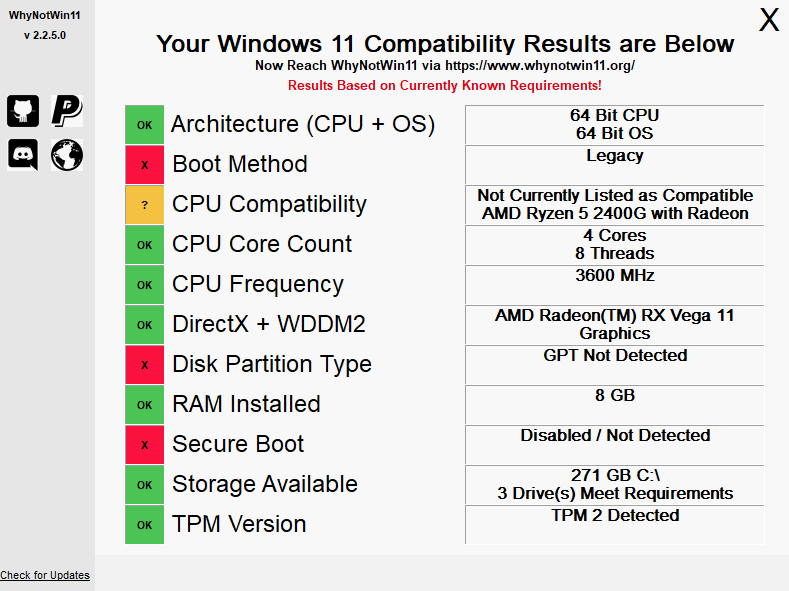 WhyNotWin11 diagnosis for Windows 11 compatibility
