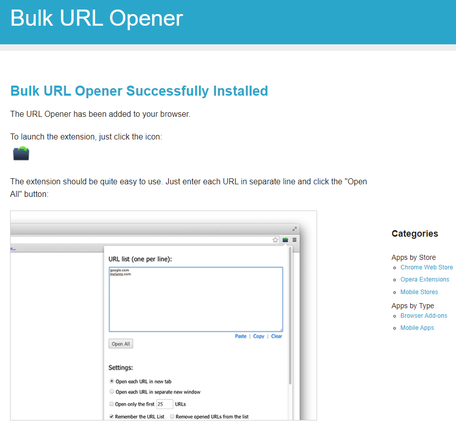 welcome page for Bulk URL Opener Extension once it is installed