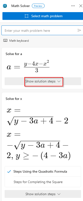 math problem solved using drag and resize