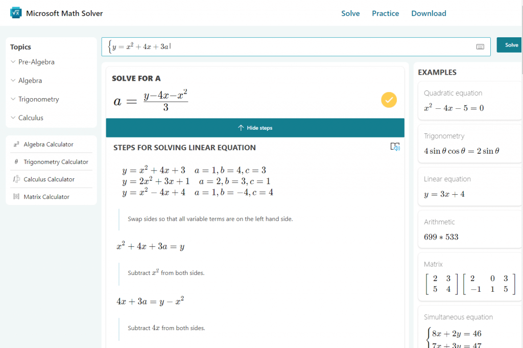 math solver in a new tab