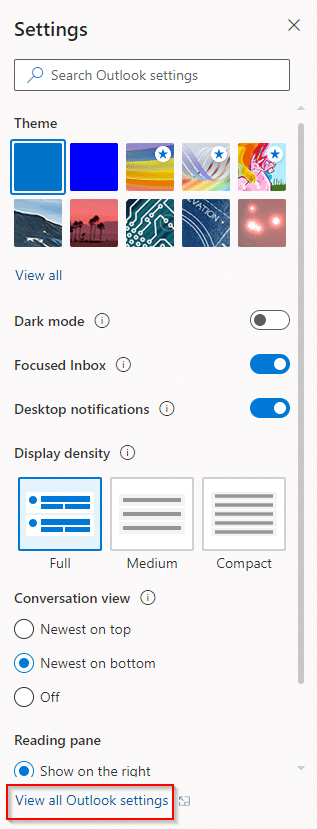 accessing all outlook settings