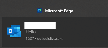 notification for received emails