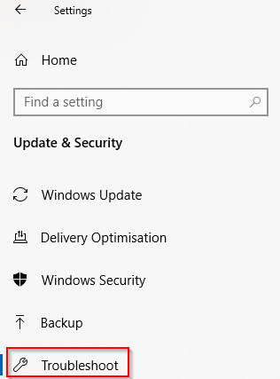 Troubleshoot section in Windows 10