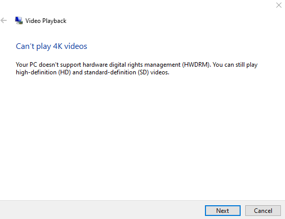 Video playback troubleshooter diagnosis about lack of hardware support