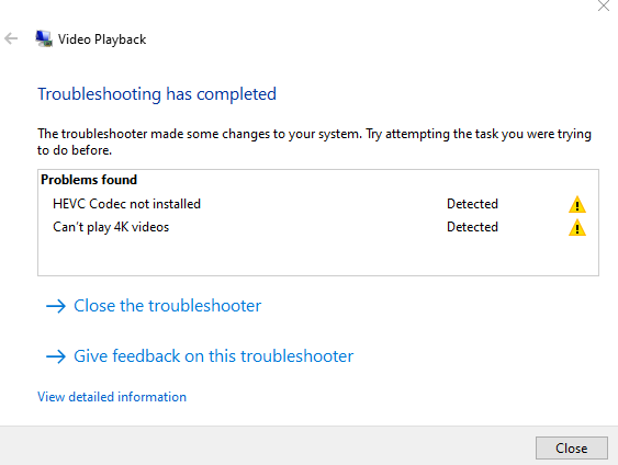 Video playback troubleshooter diagnosis complete