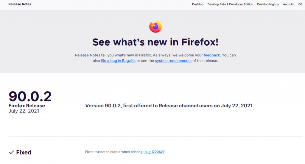 firefox release notes for different versions