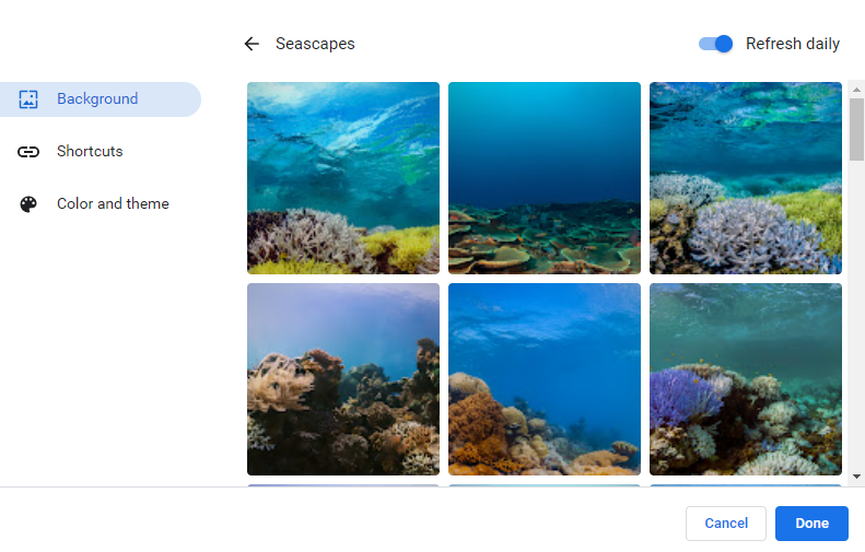 choosing from the available background images