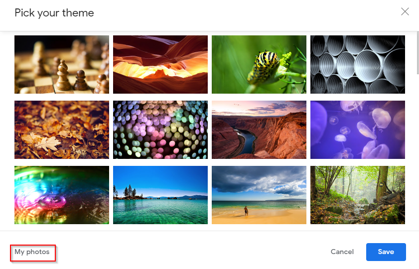 choosing a theme for Gmail