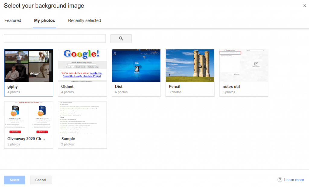 google photos can be used as a gmail theme
