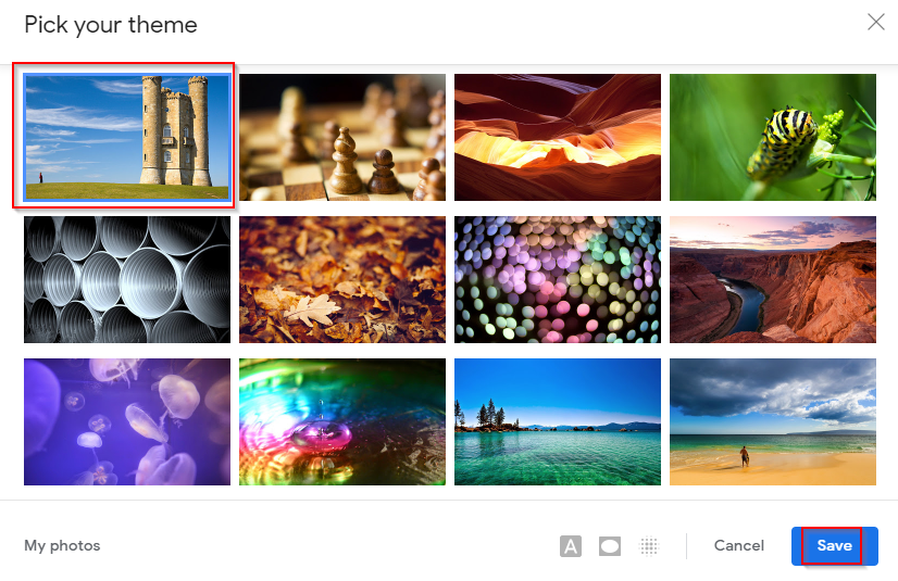 images from google photos can be added as gmail themes