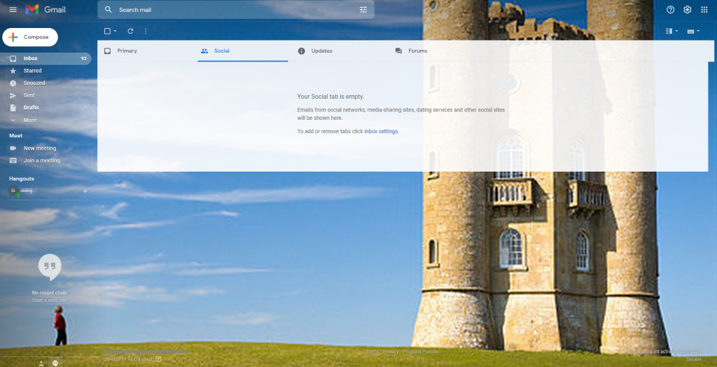 Gmail theme with an image from Google Photos