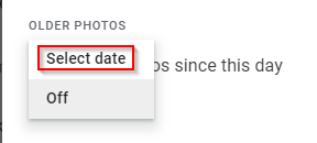 selecting photos to share from a specific date