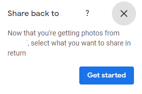 enabling a two-way sharing of google photos