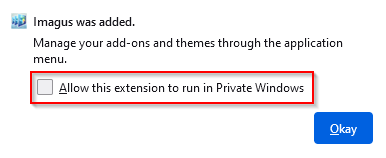 enable Imagus to run in Firefox Private Windows