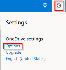 accessing OneDrive options