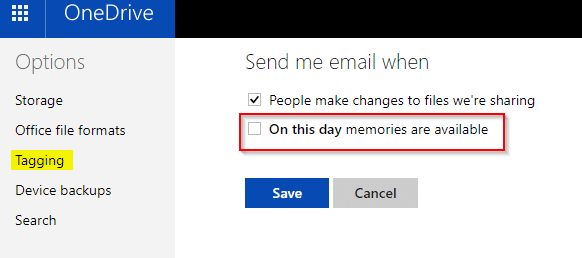turn off OneDrive emails for On this day memories