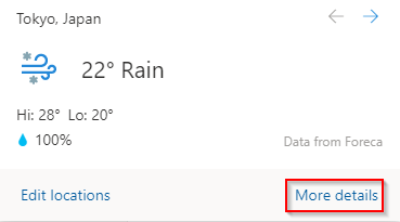 viewing the detailed weather information for the set Calendar location