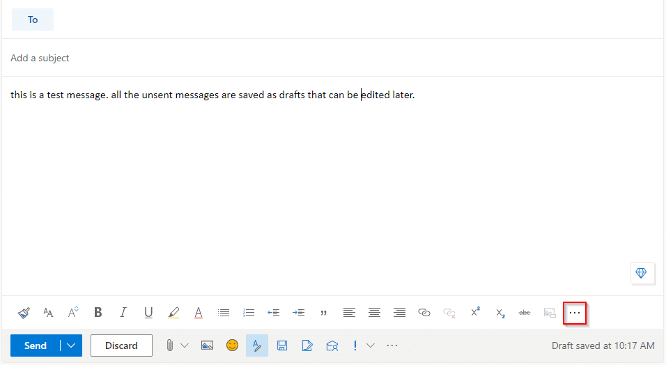 drafting emails in Outlook.com