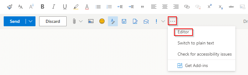 accessing Microsoft Editor settings in Outlook.com