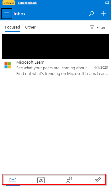 Outlook.com inbox from the Edge add-on