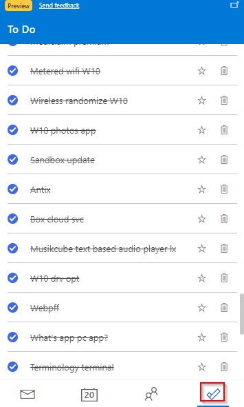 accessing To Do list from the add-on
