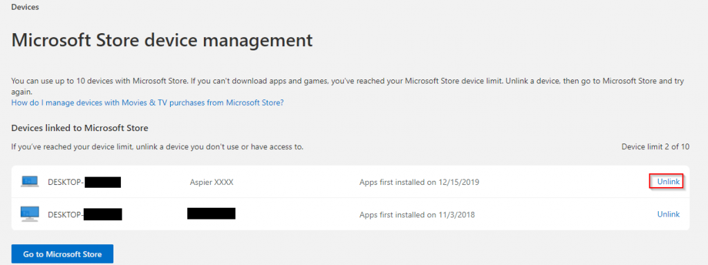 unlink unused devices from using Microsoft Store