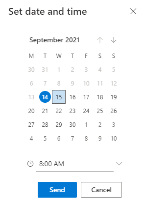 set date and time for sending emails