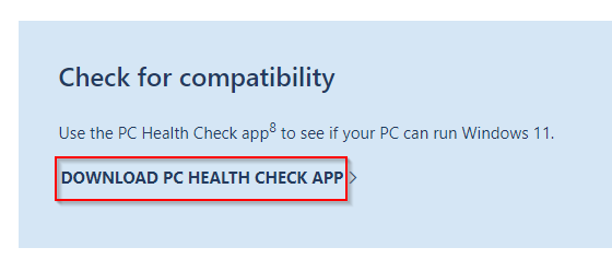 PC Health Check tool download page