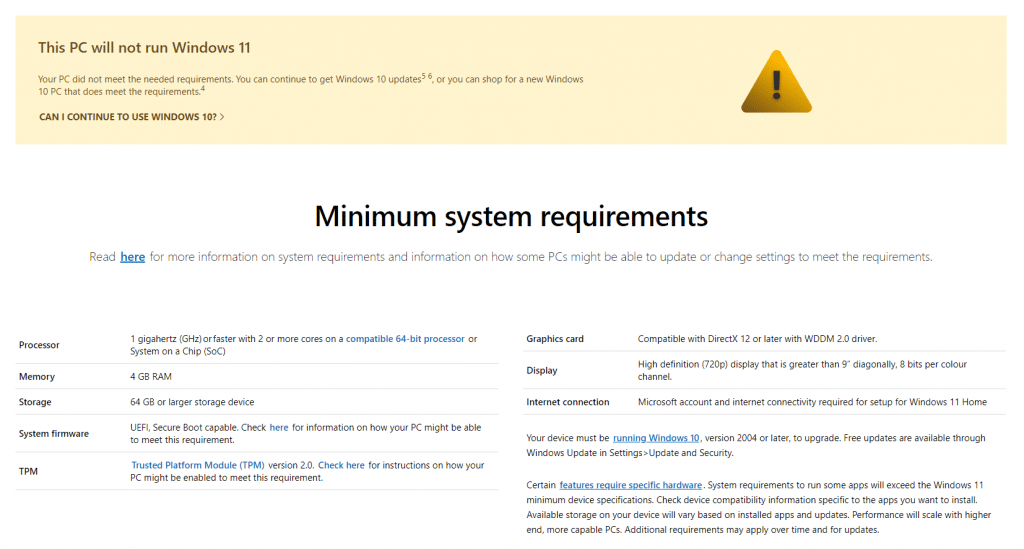 minimum system requirements page for Windows 11