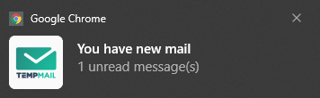 email message notification for Temp Mail