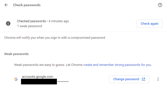 weak or compromised passwords detected in Chrome